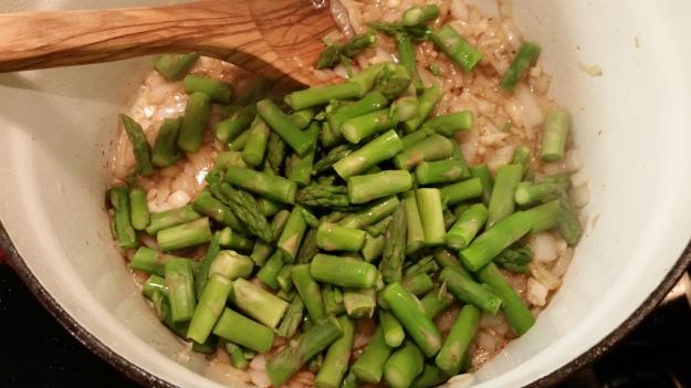 adding asparagus