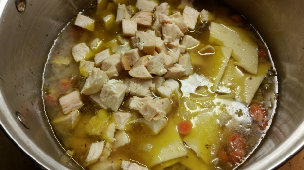 adding chicken